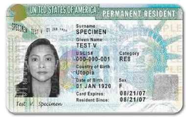 Ejemplo de Green Card